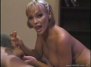 Accepting cougar with big tits pose lovely before giving huge dick stunning handjob