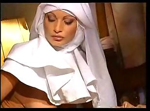 Busty nun facialized after her pussy and anal stuffing with hotly sucked cock.