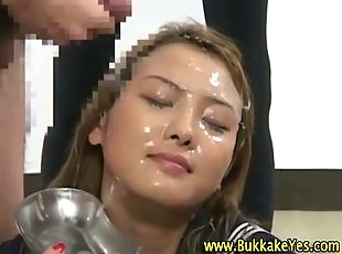 Asian schoolgirl gets fetish facial bukkake