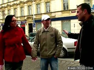 A couple is approached on the street by a Dutch television team which...