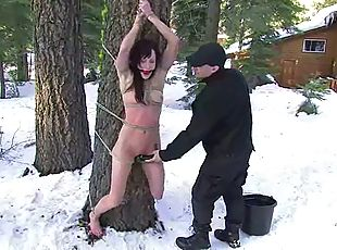 Kristine and Nina like being tormented outdoors in a hot BDSM scene