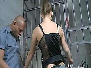 Britney makes her way around the jail and fucks some hard cocks