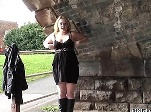 Blonde voyeur babe Sophie Keagan public flashing and upskirt masturbation