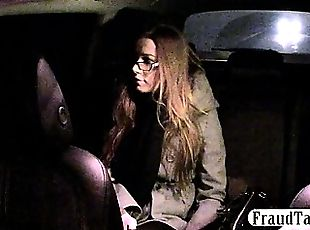 Nerdy amateur offered money for sex by her taxi driver