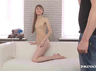 Nerdy girl rubs a cock and takes a ride on it at a casting