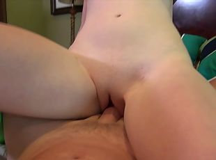 Redhead doll with natural tits moaning while her pussy is licked