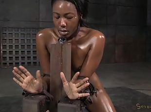 Bondage girl suffers through rough mouth fucking
