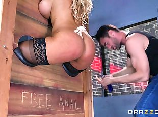 Leather boots slut in bondage boned in her lubed asshole