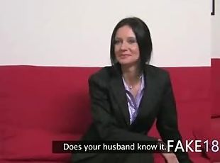 Fake agent having sex with hairy vagina