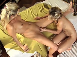 Kinky muff diving games with two blonde lesbians babes in thongs