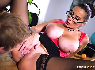 MILF teacher punishes her young student with a hard fuck in class