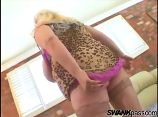 Fat chick with huge tits toys vagina