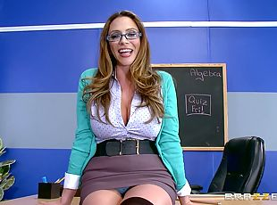 Nerdy teacher with a hot body in a POV adventure inside the classroom