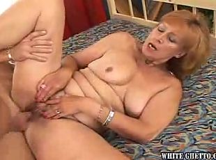 Grandma gets her hairy pussy fucked and creampied!...