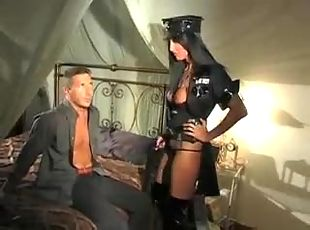 Hot chick in latex boots wants his cock