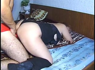 Extra kinky and hairy Russian mature bitch penetrated with a big dildo