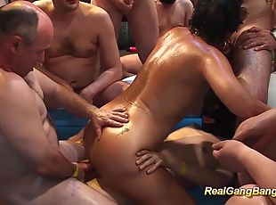 Chubby german oiled MIlf are ready for her first extreme wild gangbang fuck party orgy