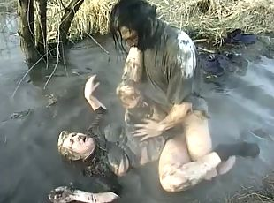 Dirty sex scene with a nasty granny getting fucked in the mud