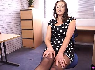 Give you pantyhose clad secretary a lovely foot rub