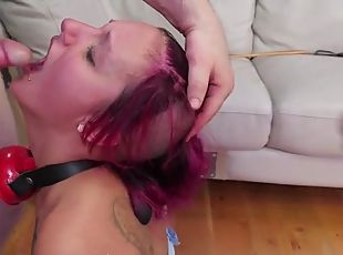 Submissive punk used like a sex slave by two guys