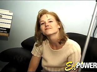 Nerdy guy in glasses fucking a busty blonde's hairy pussy
