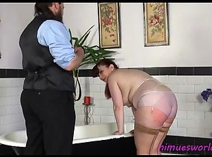 Fat ass girl in lingerie spanked on the ass